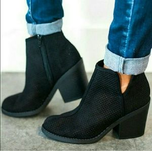 JORDAN perforated suede ankle booties - BLACK